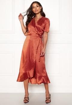 John Zack Short Sleeve Wrap Dress Rust Jacquard Bubbleroom.se