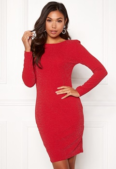 Sisters Point Catrin Lurex Dress 501 Red/Silver Bubbleroom.se