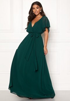 Goddiva Sleeve Chiffon Maxi Dress Green Bubbleroom.se