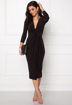 Club L Slinky Knot Midi Dress Black Bubbleroom.se