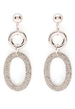 SNÖ of Sweden Doreen Pendant Earring Silver/Clear Bubbleroom.se