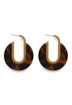 SNÖ of Sweden Gray Oval Earring g/brown Bubbleroom.se