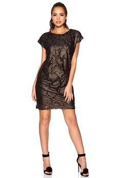 SOAKED IN LUXURY Selina Dress Black/Gold Bubbleroom.se