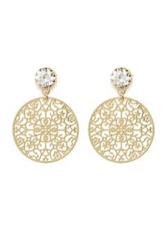 BY JOLIMA Spinn Crystal Earring Crystal Gold Bubbleroom.se