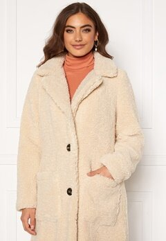 ONLY Star Long Teddy Coat OTW Pumice Stone Bubbleroom.se