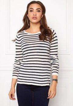 VILA Starly Stripe Knit Top Total Eclipse Bubbleroom.no