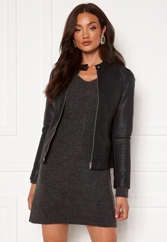 Jacqueline de Yong Stormy Faux Leather Jacket Black Bubbleroom.se