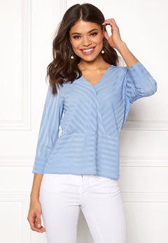 Rut & Circle Striped Waist Seam Blouse Mid Blue Bubbleroom.se