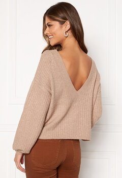 Pieces Suna LS Open Back Knit Natural Bubbleroom.se