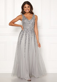 Goddiva Sunray Sequin Maxi Dress Light Grey Bubbleroom.se