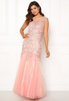SUSANNA RIVIERI Embellished Shine Dress Blush Bubbleroom.se