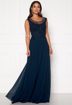 SUSANNA RIVIERI Dream Chiffon Dress Navy Bubbleroom.se