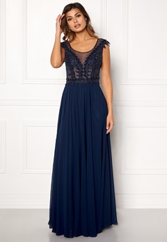 SUSANNA RIVIERI Embellished Beaded Dress Navy Bubbleroom.se