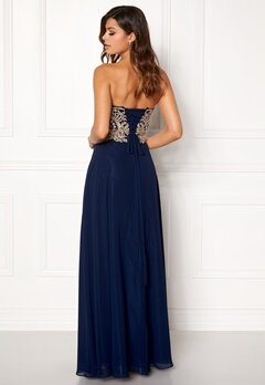 SUSANNA RIVIERI Embellished Chiffon Dress Navy Bubbleroom.se