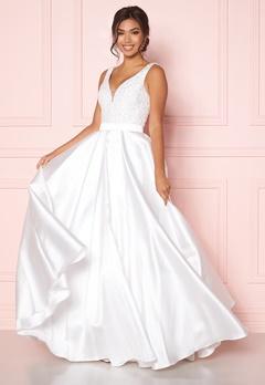 SUSANNA RIVIERI Embellished Satin Dress Ivory Bubbleroom.se