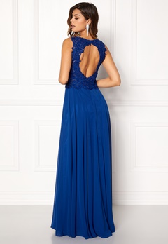 SUSANNA RIVIERI Embroidered Chiffon Dress Royal Bubbleroom.dk