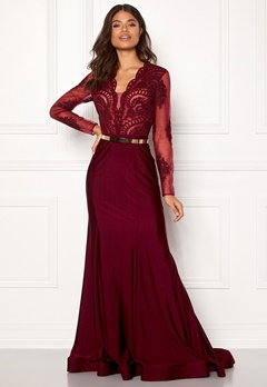 SUSANNA RIVIERI Fishtail Longsleeve Dress Burgundy Bubbleroom.se