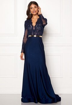 SUSANNA RIVIERI Fishtail Longsleeve Dress Navy Bubbleroom.se