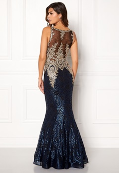 SUSANNA RIVIERI Fishtail Sequin Dress Blue/Black Bubbleroom.dk