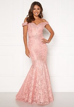 SUSANNA RIVIERI Mermaid Lace Dress Blush Bubbleroom.se