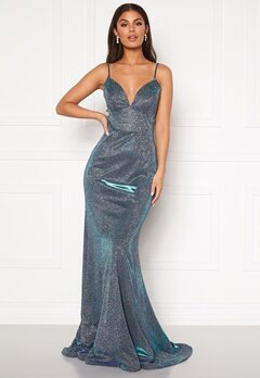 SUSANNA RIVIERI Sparkling Fishtail Dress Royal/Silver Bubbleroom.se