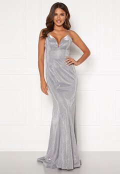 SUSANNA RIVIERI Sparkling Fishtail Dress Silver Bubbleroom.se