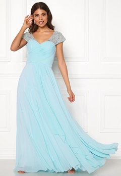 SUSANNA RIVIERI Sweetheart Chiffon Dress Ice Blue Bubbleroom.se