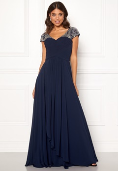 SUSANNA RIVIERI Sweetheart Chiffon Dress Navy Bubbleroom.se