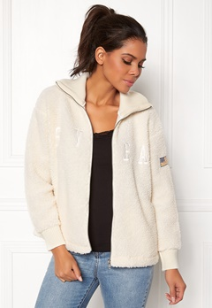 Svea Kathryn Pile Zip Sweater Antique White 023 Bubbleroom.se