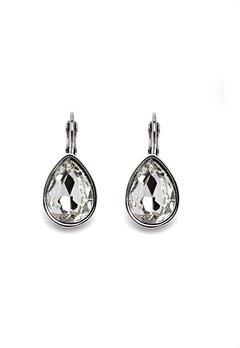 BY JOLIMA Tear Drop Earring Crystal Silver Bubbleroom.se