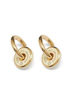 The Marc Jacobs The Medallion Hoop Earrings 001 Black/Gold Bubbleroom.se