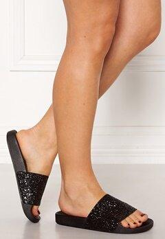 The White Brand Glitter Black Sandals Black Bubbleroom.se