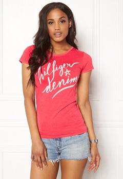 TOMMY HILFIGER DENIM Basic s/s T-shirt 667 Rose Red Bubbleroom.dk