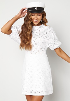 TOMMY JEANS Broderie Anglaise Dress YBR White Bubbleroom.se