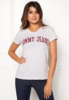 TOMMY JEANS Clean Logo Tee Pale Grey Heather Bubbleroom.se