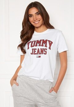 TOMMY JEANS Collegiate Logo Tee YBR White Bubbleroom.se