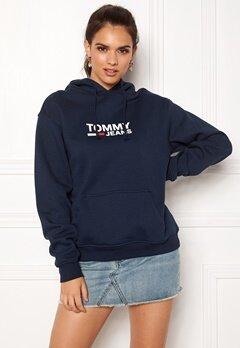 TOMMY JEANS Corp Logo Hoodie 002 Black Iris Bubbleroom.se
