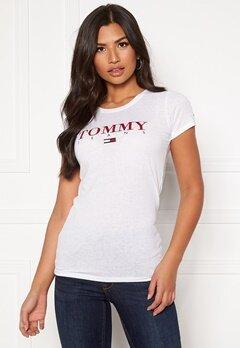 TOMMY JEANS Essential Slim Logo Tee YA2 Classic White Bubbleroom.se