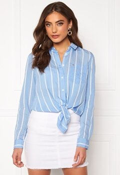 TOMMY JEANS Front Knot Shirt 0FO White/Moderate B Bubbleroom.se