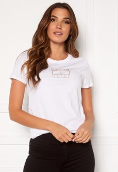 TOMMY JEANS Outline Flag Tee YBR White Bubbleroom.se