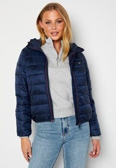 TOMMY JEANS Quilted Hooded Jacket C87 Twilight Navy bubbleroom.se