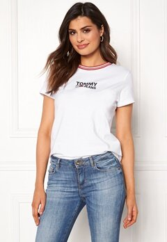 TOMMY JEANS Rib Stripe Neck Tee 100 Classic White Bubbleroom.se