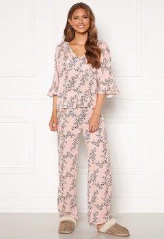 Trendyol Flower Printed Pyjama Set Pudra/Powder Pink Bubbleroom.se