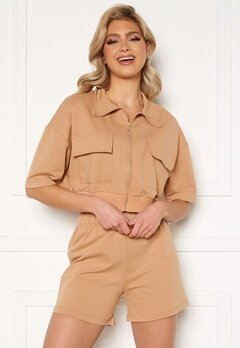 Trendyol Shirt Short Set Camel Bubbleroom.se