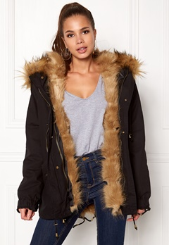 Urban Mist Plush Faux Fur Parka Black/Fox Bubbleroom.se