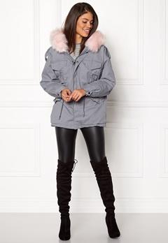 Urban Mist Plush Faux Fur Parka Grey/Pink Bubbleroom.fi