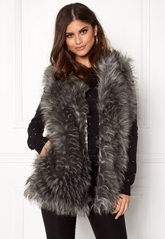 Urban Mist Tipped Faux Fur Gilet Grey Bubbleroom.se