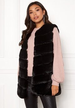Urban Mist Chevron Faux Fur Gilet Black Bubbleroom.se
