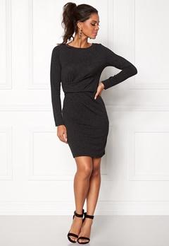 VERO MODA Alba Knot L/S Short Dress Dark Grey Melange Bubbleroom.fi