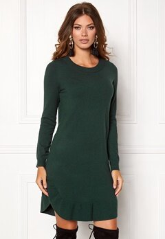 VERO MODA Annika LS Ruffle Dress Green Gable Bubbleroom.no